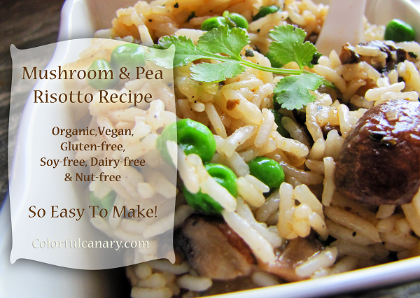 Easy Vegan Mushroom & Pea Risotto Recipe | Colorful Canary