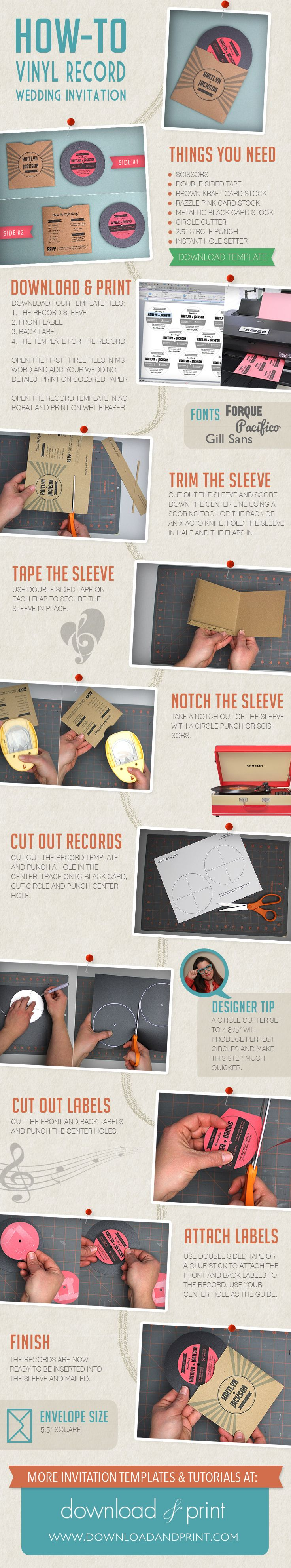 How To DIY a vinyl record wedding invitation