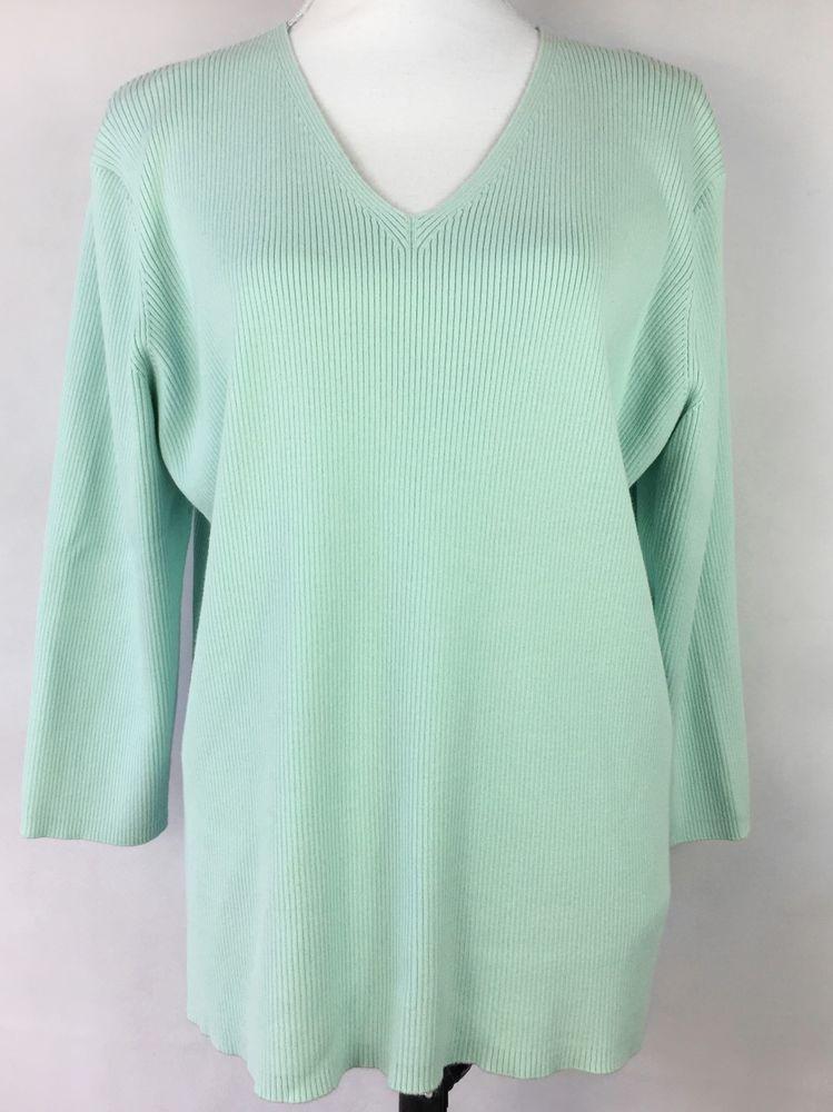 aac41ad2ec Details about EDDIE BAUER Sweater XXL 2X Women s Mint Green V-Neck 3 ...