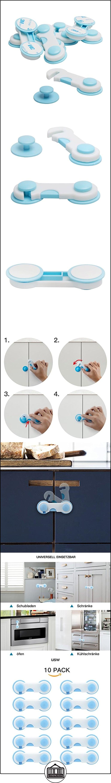 10Pack Baby Puerta de seguridad Armario Cajón de seguridad infantil-Cerrojo para puerta  ✿ Seguridad para tu bebé - (Protege a tus hijos) ✿ ▬► Ver oferta: http://comprar.io/goto/B01MDOA49R