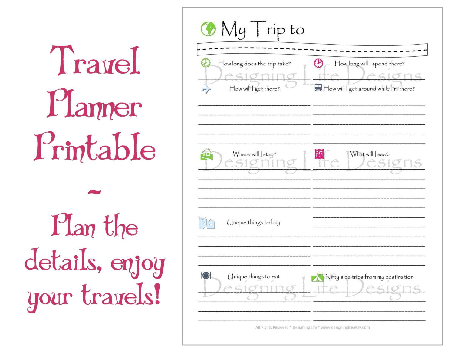 Vacation Travel Planner Printable PDF Sheets My Di DesigningLife