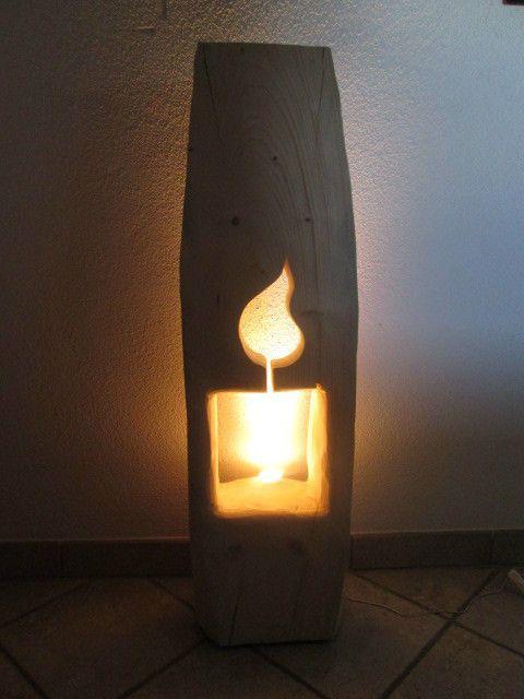 Baumstamm kerze 28cm x 22cm x 100cm windlicht kerze holzkerze neu in meinem ebay - Baumstamm deko laterne ...