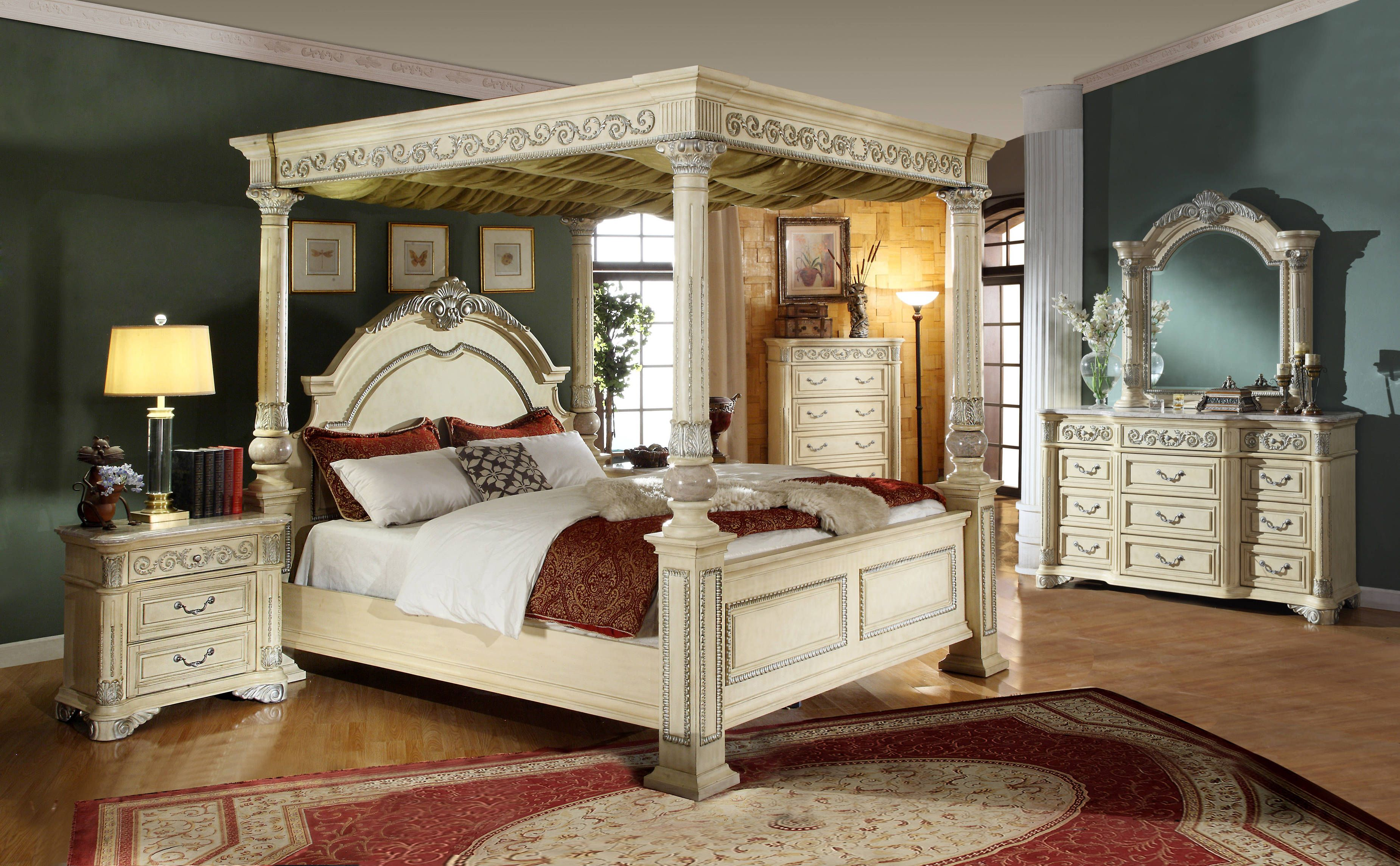 marble top bedroom furniture%0A Sienna Antique White Solid Wood King Post Canopy Bed
