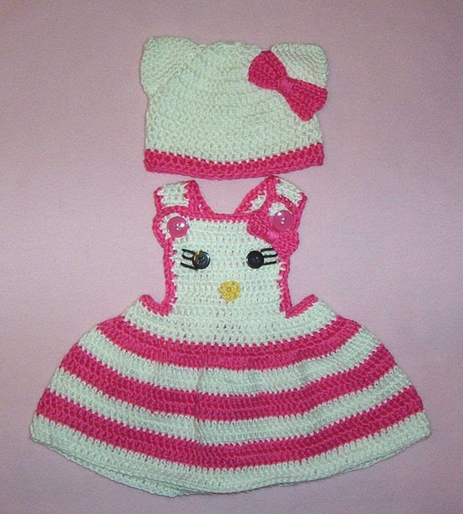 Hello Kitty Crochet Hot Pink and White Jumper and Hat Fits Newborn 3 ...