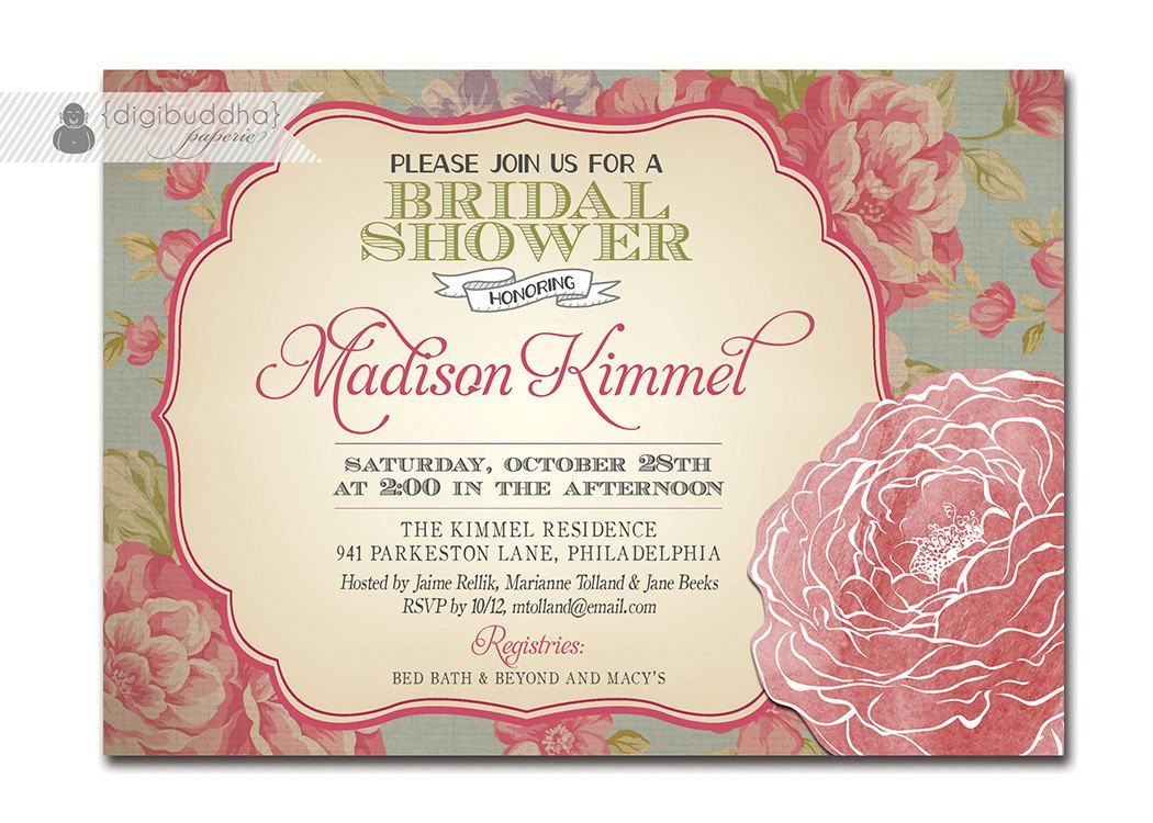Bridal Shower Invitation Vintage Rose Rustic Floral Shabby Chic ...