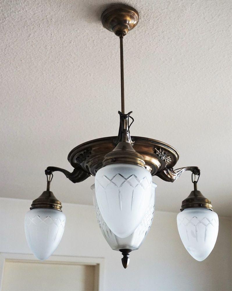 Jugendstil Deckenlampe Um 1920 Antik Kronleuchter Lampe Art Nouveau Chandelier