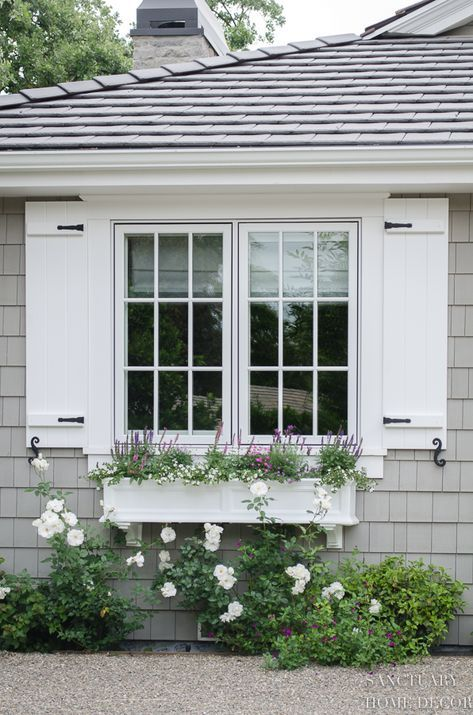 How Window Shutters and Planter Boxes Transformed the Exterior of My House - Sanctuary Home Decor
