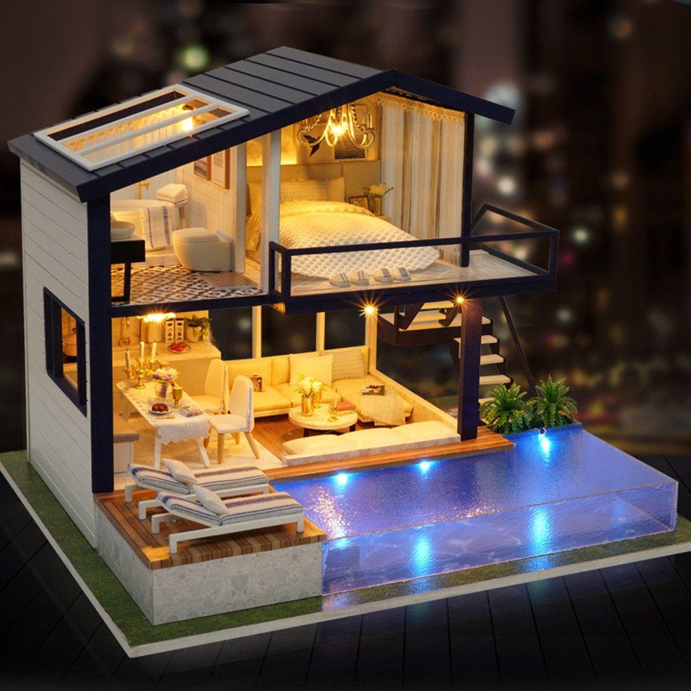DIY LED Loft Apartments Dollhouse Miniature Wooden Furniture Kit Doll House Gift