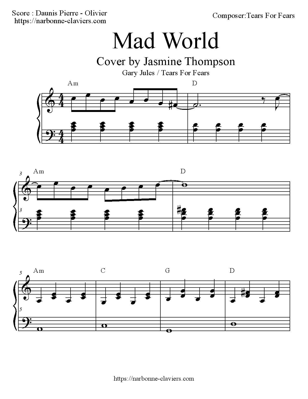 Très Partition gratuite pour piano de MAD WORLD version Jasmine  OJ96