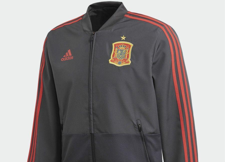 90e885679b7 #football #soccer #futbol Spain 2018 World Cup Adidas Presentation Jacket -  Solid Grey / Night Grey / Red