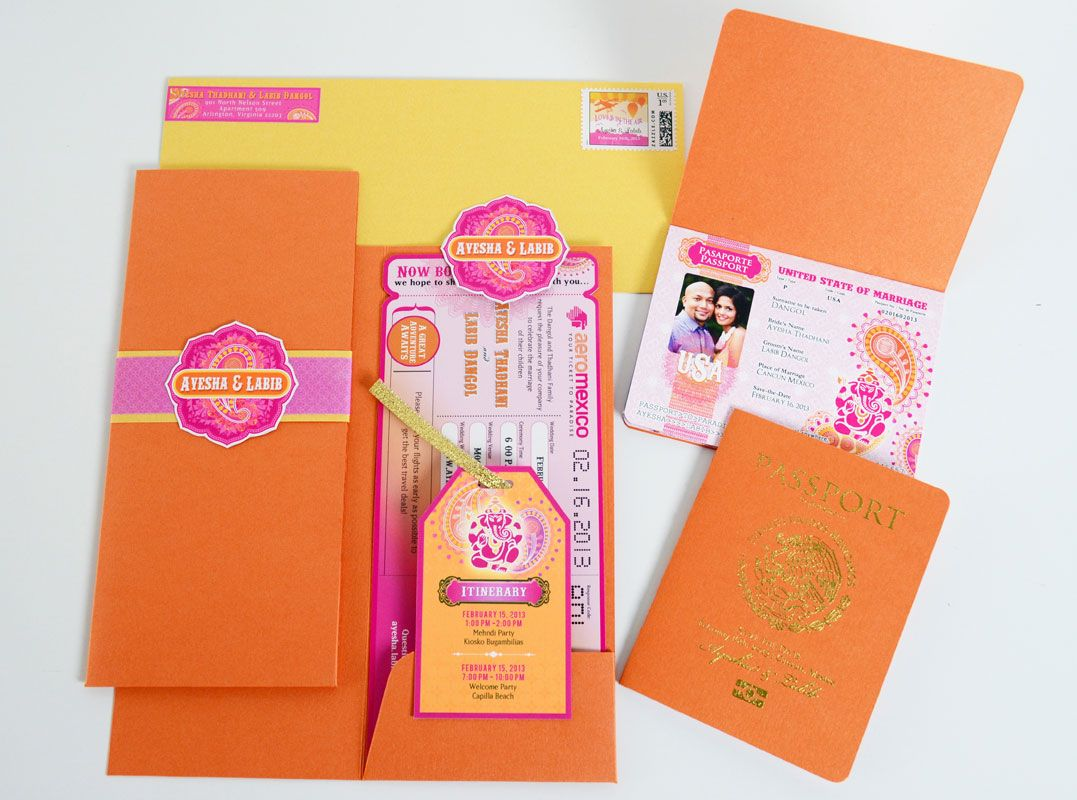 The Ayesha Passport And Boarding Pass Style Indian Wedding Invitation
