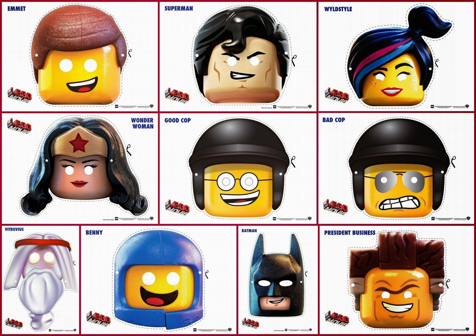 Lego la Película: Máscaras para Imprimir Gratis. | Party ideas ...