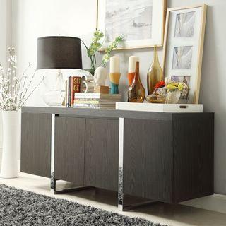 inspire q buona dark grey brown metal band sideboard storage buffet rh gr pinterest com