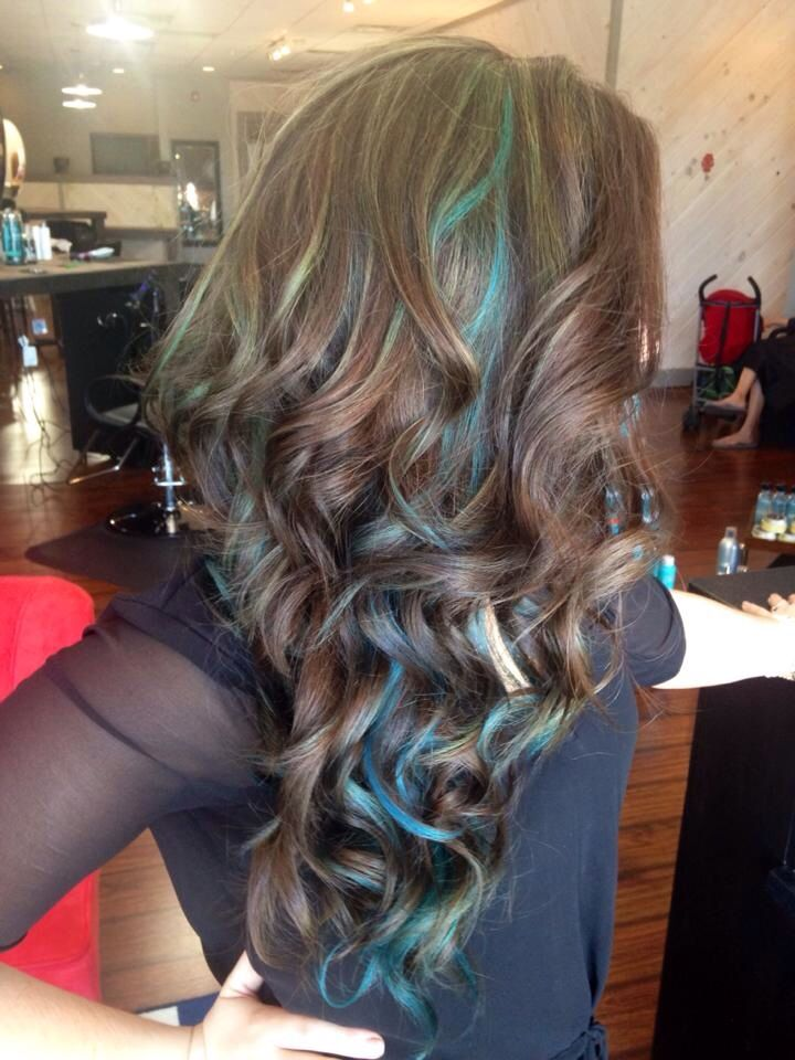Blue Highlights Brown Hair Blue Highlights Auburn Hair With