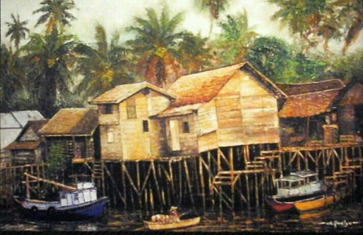 Rumah panggung, oil on canvas 120 x 150 cm