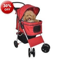 100cm Red Sturdy Pet Dog Stroller Trolley & Canopy - Mesh Cover - Bottom Basket - Removable Base Pad