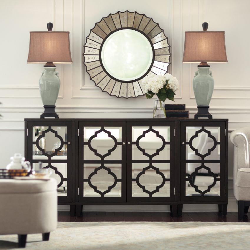 Mirrored furniture reflects light and makes any room look - Living room with mirrored furniture ...