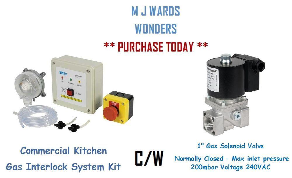 Commercial Kitchen Gas Interlock System Kit C W 1 Gas Solenoid Valve N C Ebay Commercial Kitchen Interlock Gas