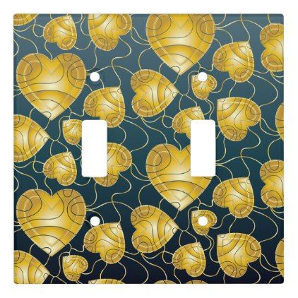 Golden Hearts Pattern Light Switch Cover - gold gifts golden diy custom