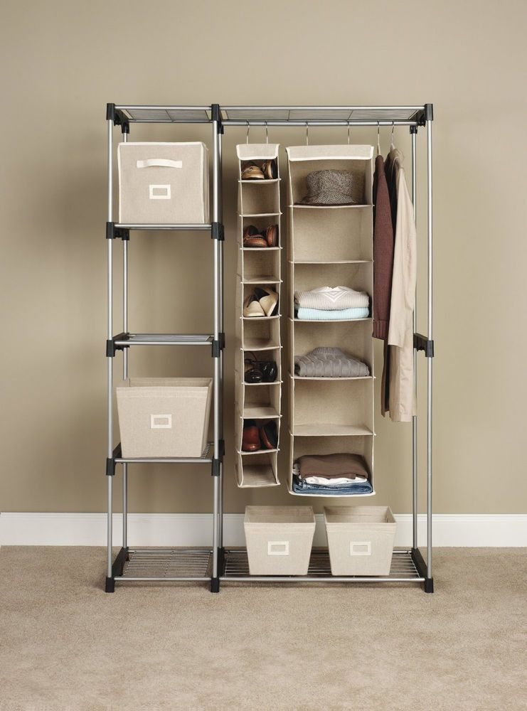 standing closet wardrobe organizer shelf clothes storage rack dorm rh pinterest com