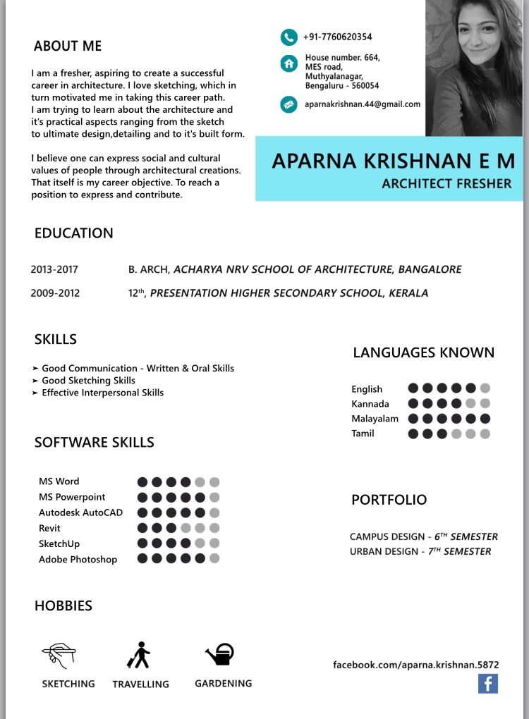 resume design  architecture fresher