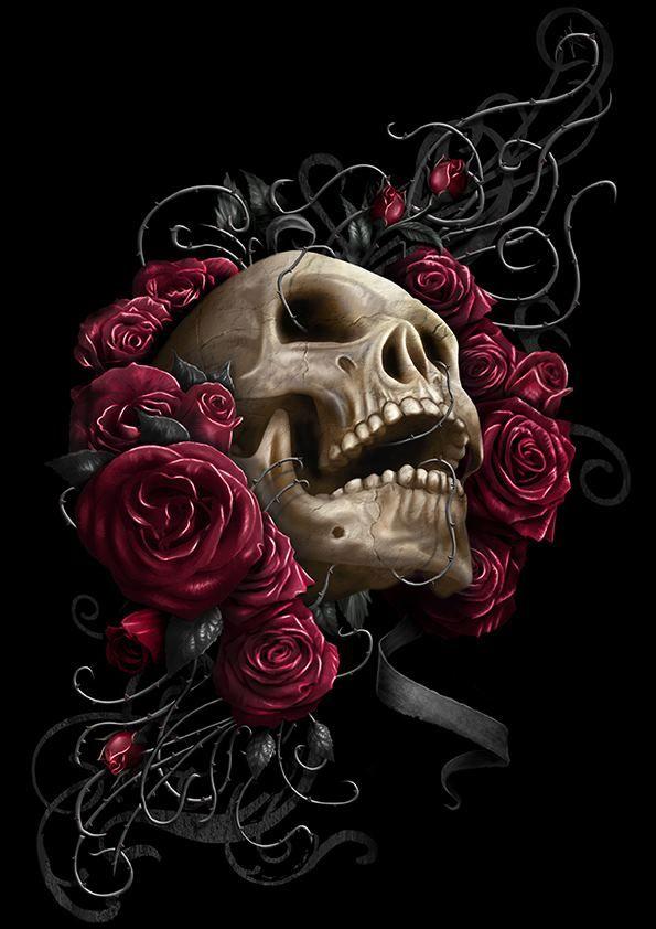 skull rose by chrisbryancreative skulls art ink me. Black Bedroom Furniture Sets. Home Design Ideas