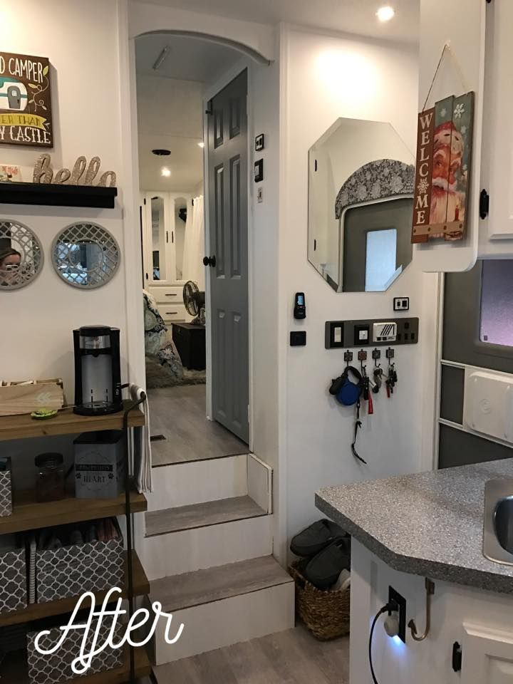 Rv Remodel Love All White Paint And Gray Interior