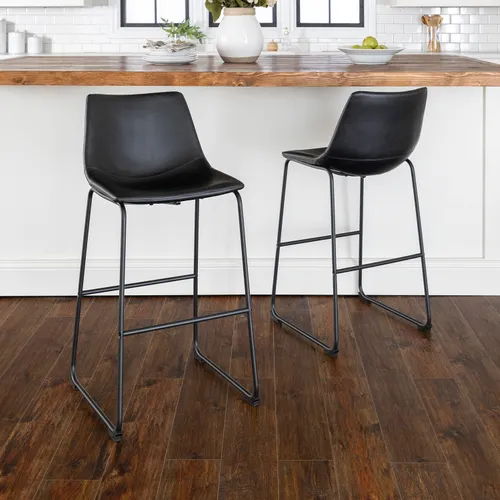 Black Faux Leather Bar Stools Set Of 2 Leather Bar Stools Bar Stools White Bar Stools