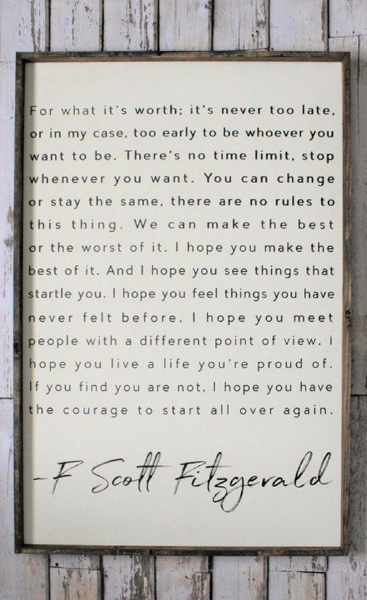 F Scott Fitzgerald Quote Wood Sign Inspiring
