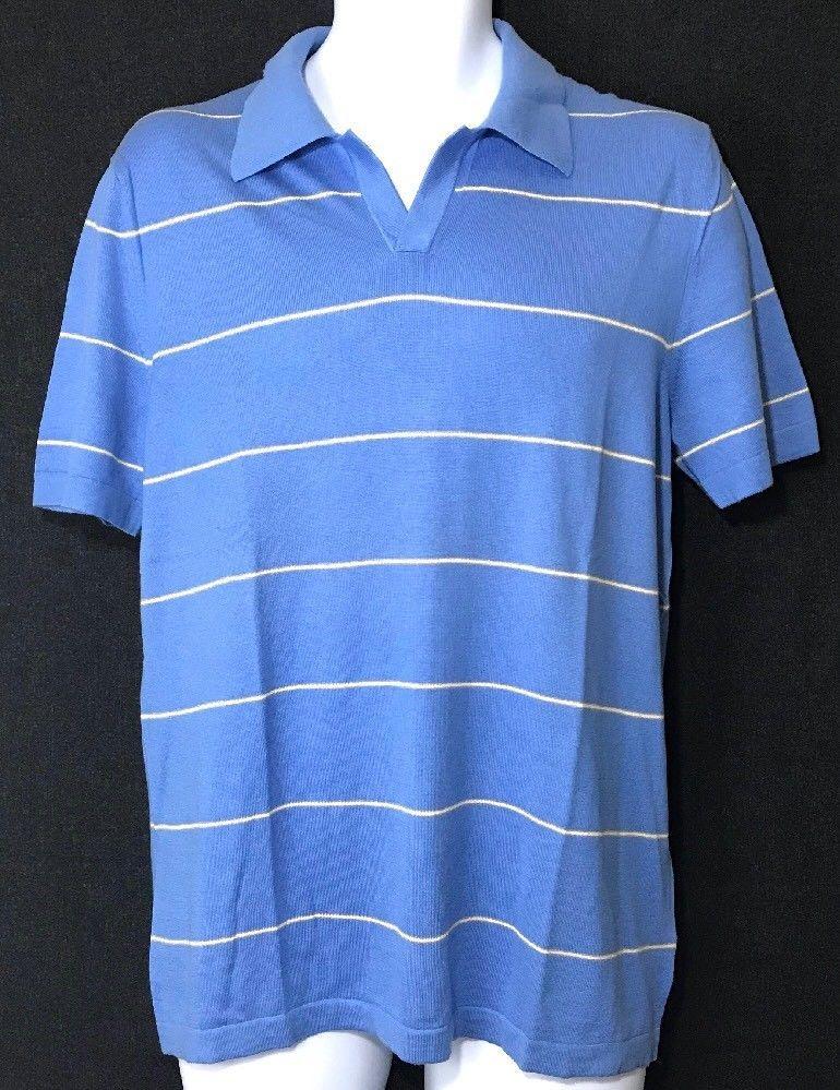 11e8e6d75 Banana Republic Mens Polo Shirt M Silk Cotton Cashmere Stripe Golf Sweater   BananaRepublic  PoloRugby