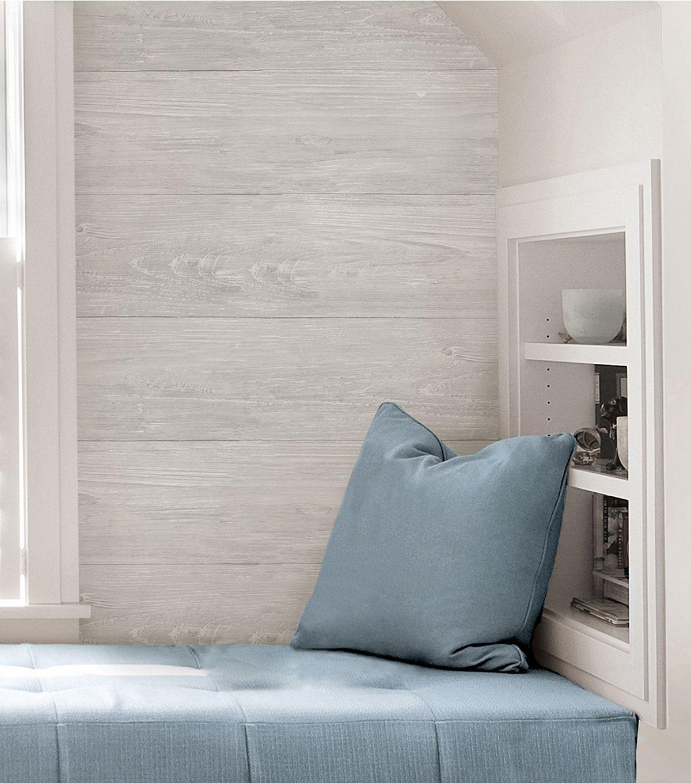 Wallpops Nuwallpaper Peel Stick Wallpaper Gray Wood Plank Joann Wood Plank Wallpaper Nuwallpaper Wood Feature Wall