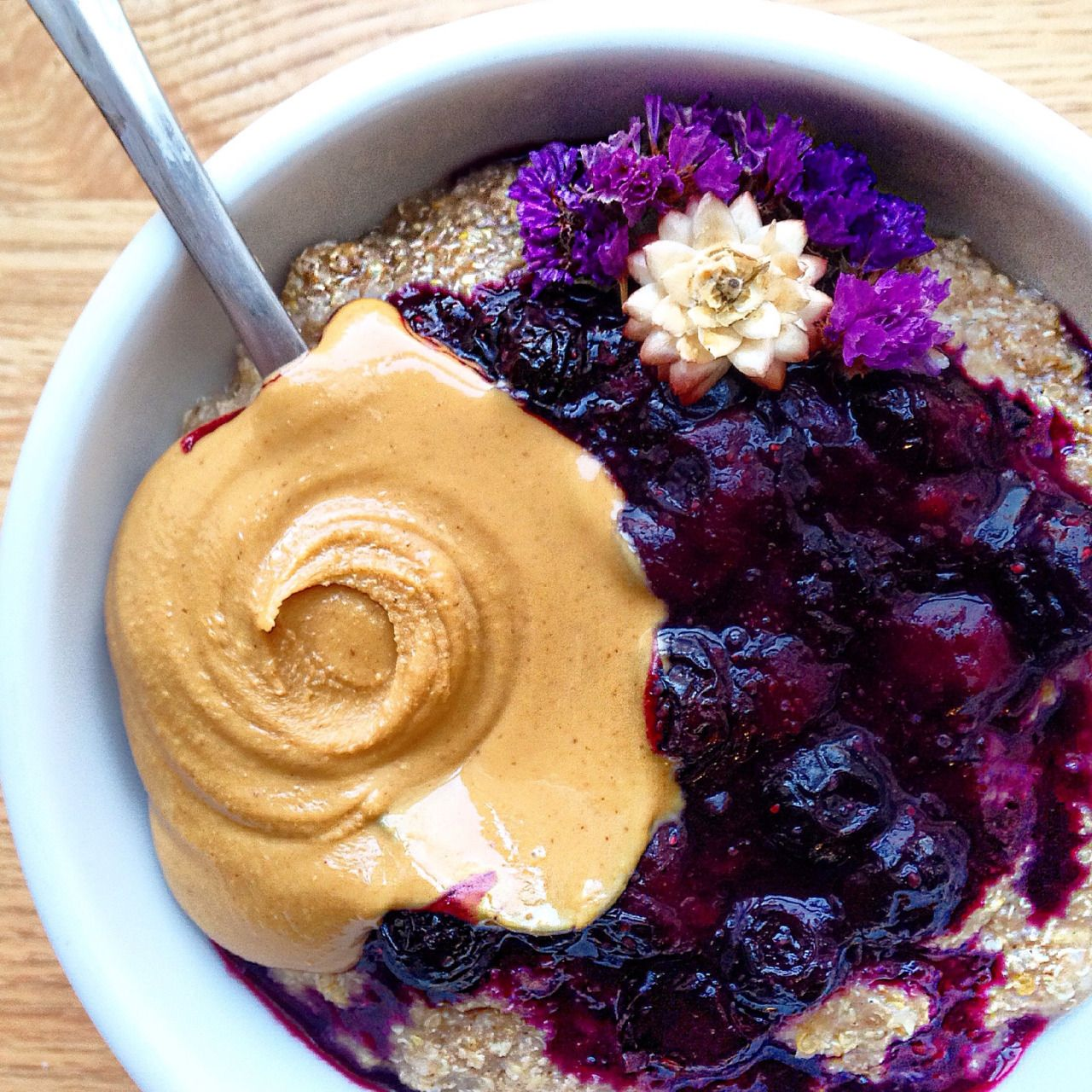 Hot quinoa cereal with melty cinnamon blueberry sauce pb hot quinoa cereal with melty cinnamon blueberry sauce pb flowersandfitness ccuart Choice Image