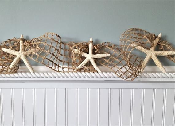 Photo of Beach Decor, Nautical Christmas Garland, Coastal Decor, Starfish & Fish Net Garland, Nautical Decor, Netting Garland, Beach Gift, 10FT BROWN