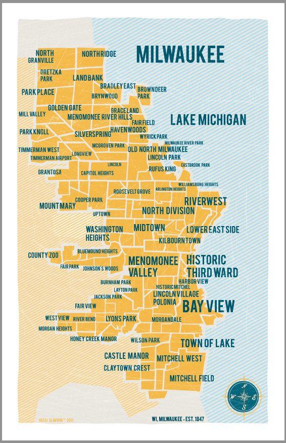 mke neighborhoods map milwaukee pinterest wisconsin and