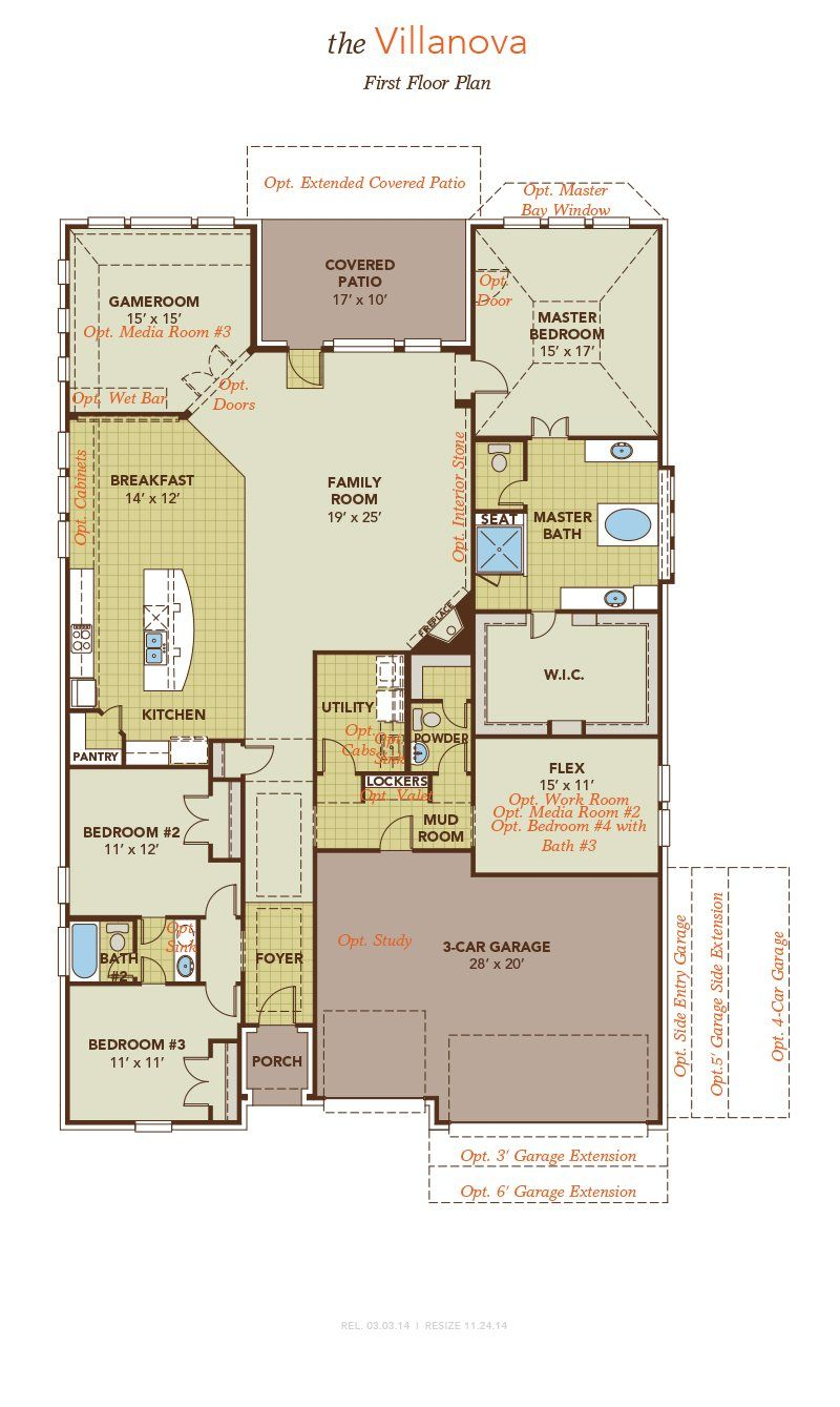 Villanova First Floor Plan Gehan Homes New House Plans House