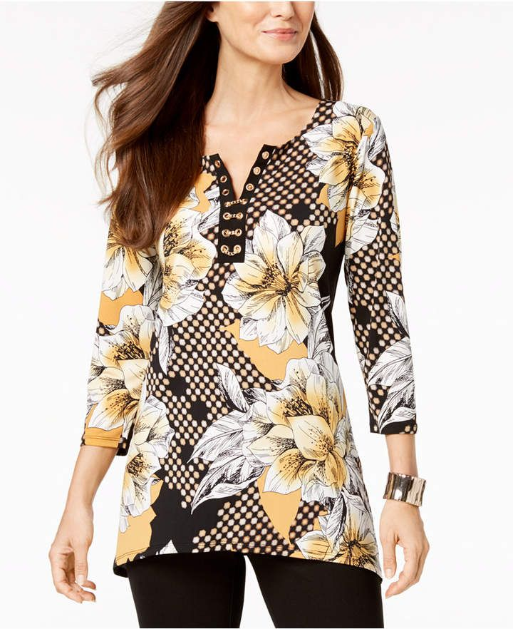 Jm Collection Plus Size Embellished Floral-Print Tunic
