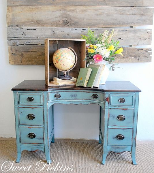 antiqued blue desk or vanity. - So Pretty! Love The Wood On The Wall...add A Little Chalk Paint