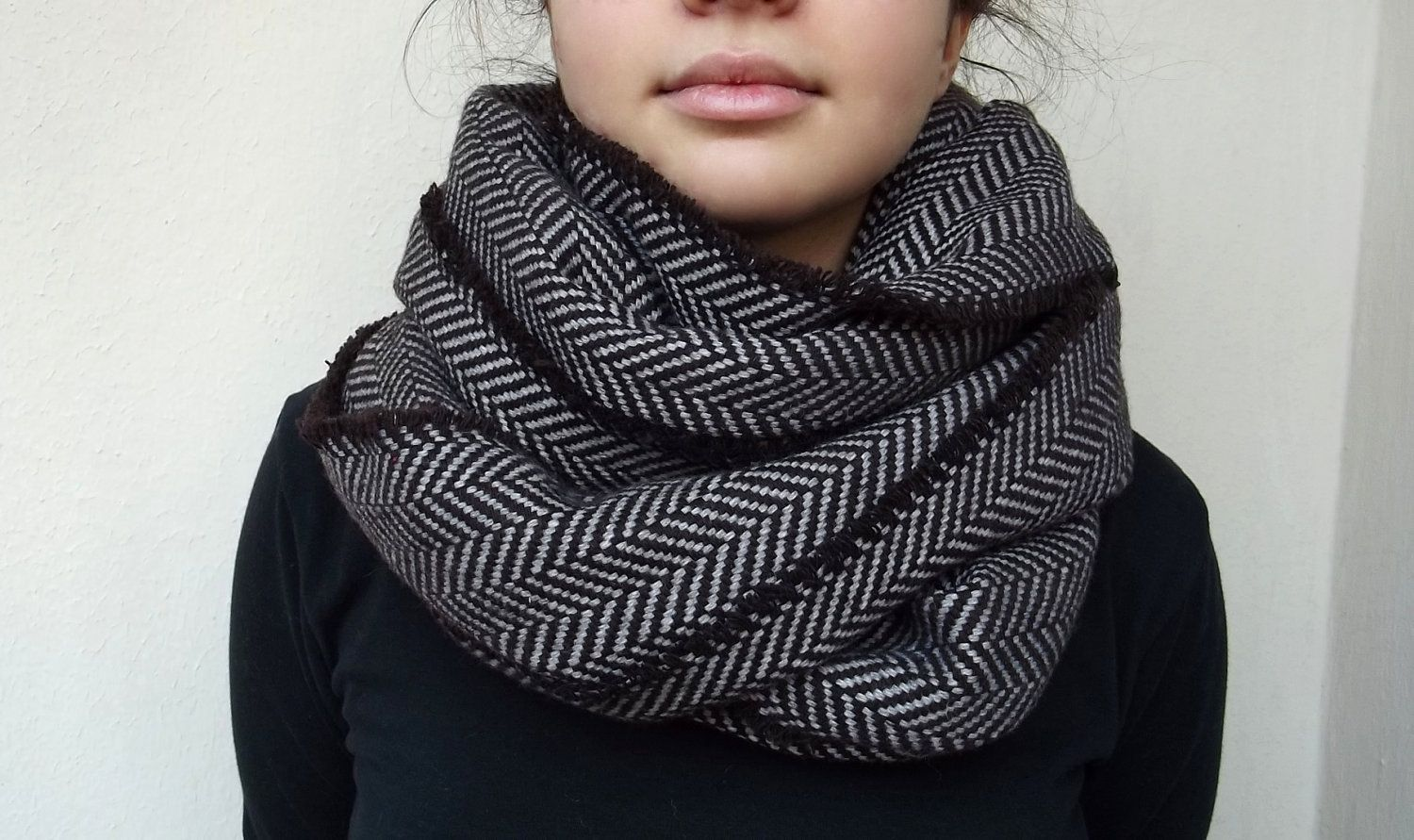 Fashion Winter Chevron Ring Scarf Wool Cotton Unisex Outdoor Wear Neck Scarves