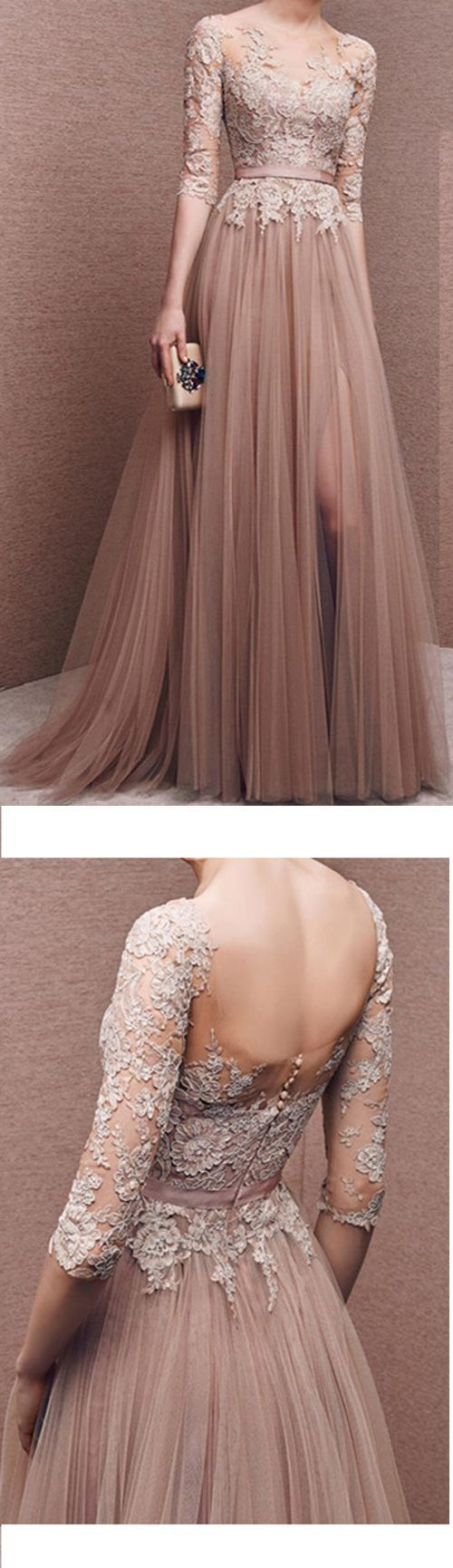 Charming prom dresstulle prom dresshalfsleeves prom dress