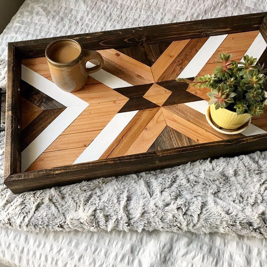 Wooden Decorative Trays Adorable Wood Tray  Geometric Wood Tray  Wood Serving Tray  Wood Wall Review