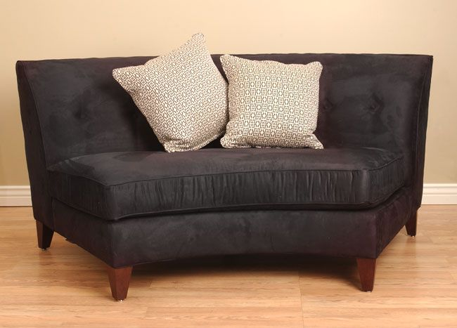 Black Armless Curved Loveseat - Overstock Shopping - Great Deals on ...