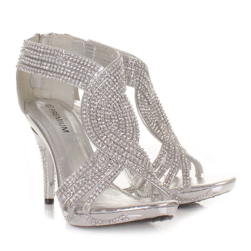SILVER WOMENS LADIES DIAMANTE WEDDING HIGH HEEL PROM SHOES SANDALS SIZE 3-8