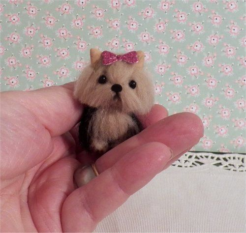 miniature Yorkie totally sculpted and furred