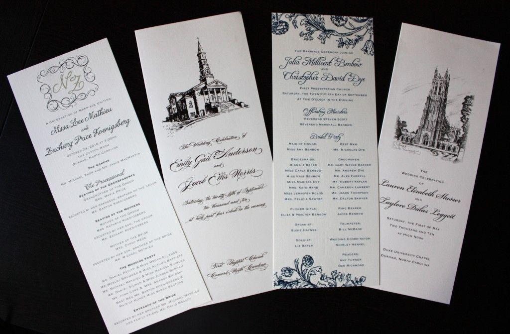 swirl monogram floral church illustration wedding programs
