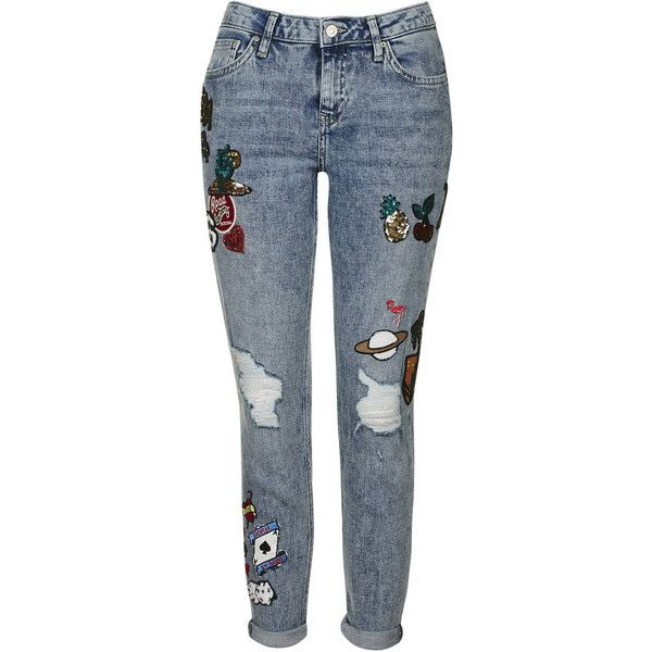 TopShop Tall Badged Lucas Boyfriend Jeans ($72) ❤ liked on Polyvore featuring jeans, pants, bleach stone, low rise jeans, topshop jeans, topshop boyfriend jeans, loose fit jeans and boyfriend jeans