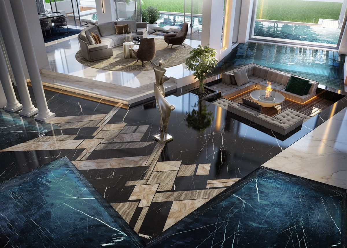 Open Concept Sunken Living Room Surrounded By Indoor Pool And