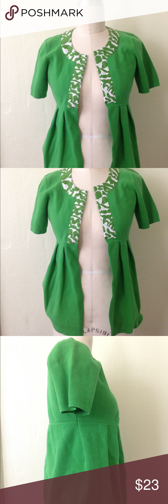 MILLY Grass Green Short Sleeve Cardigan   Green shorts, Neckline ...