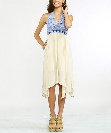 1d6d732fb45c Another great find on #zulily! Denim & Cream Geometric Empire-Waist Halter  Dress #zulilyfinds