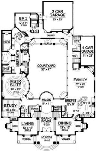 Mediterranean House Plan With Interior Courtyard Courtyard House Plans Luxury House Plans New House Plans