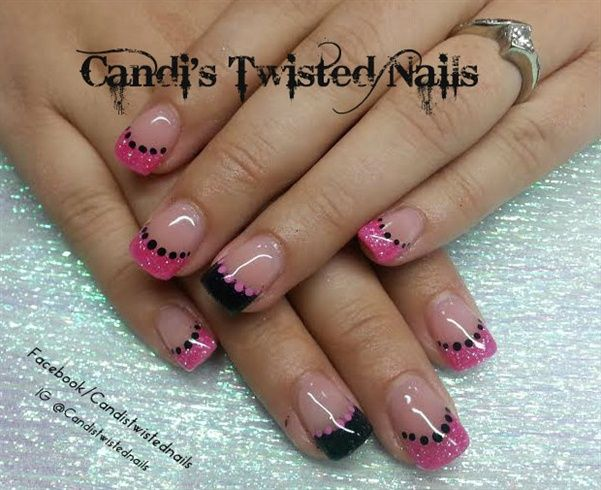 Pink And Black French By Twistednails Nail Art Gallery